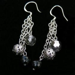 Sterling Silver and Onyx Bead Earrings (China) - Thumbnail 1