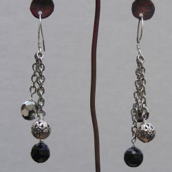 Sterling Silver and Onyx Bead Earrings (China) - Thumbnail 2