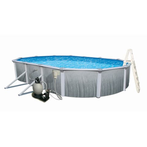 Blue Wave Martinique Oval 52-inch Deep 7-inch Top Rail Metal Wall Swimming Pool Package