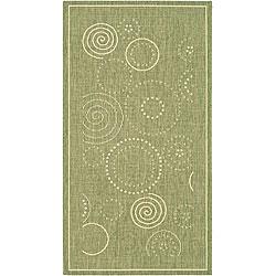 Safavieh Indoor/ Outdoor Ocean Olive/ Natural Rug (2'7 x 5')