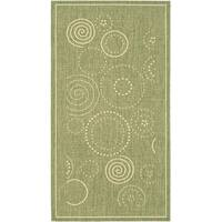 Safavieh Ocean Swirls Olive Green/ Natural Indoor/ Outdoor Rug - 2'7 x 5'