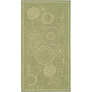 Safavieh Ocean Swirls Olive Green/ Natural Indoor/ Outdoor Rug - 2'7 x 5'