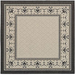 Safavieh Indoor/ Outdoor Royal Sand/ Black Rug (7'10 Square)