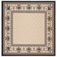 "Safavieh Royal Sand/ Black Indoor/ Outdoor Rug (7'10 Square) - 7'10"" x 7'10"" square"