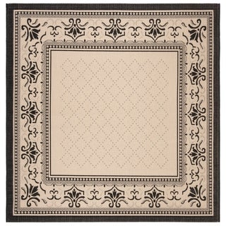 Safavieh Royal Sand/ Black Indoor/ Outdoor Rug (7'10 Square)