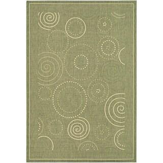 """Safavieh Ocean Swirls Olive Green/ Natural Indoor/ Outdoor Rug - 5'3"""" x 7'7"""""""