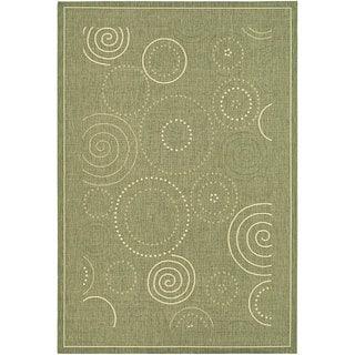 Safavieh Ocean Swirls Olive Green/ Natural Indoor/ Outdoor Rug (6'7 x 9'6)