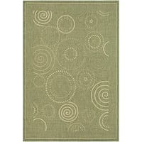 Safavieh Ocean Swirls Olive Green/ Natural Indoor/ Outdoor Rug - 6'7 x 9'6