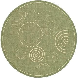 Safavieh Ocean Swirls Olive Green/ Natural Indoor/ Outdoor Rug (6'7 Round)