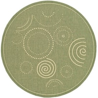 "Safavieh Ocean Swirls Olive Green/ Natural Indoor/ Outdoor Rug - 6'7"" x 6'7"" round"