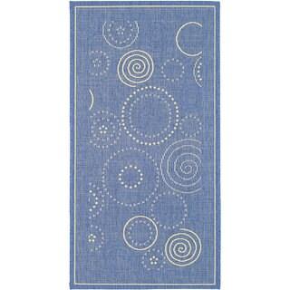 Safavieh Ocean Swirls Blue/ Natural Indoor/ Outdoor Rug (2'7 x 5')