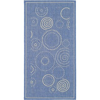 Safavieh Ocean Swirls Blue/ Natural Indoor/ Outdoor Rug - 2'7 x 5'