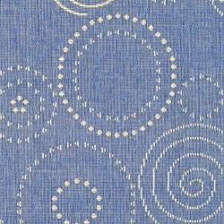 Safavieh Ocean Swirls Blue/ Natural Indoor/ Outdoor Rug (4' x 5'7)