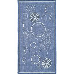 Safavieh Indoor/ Outdoor Ocean Blue/ Natural Rug (4' x 5'7)