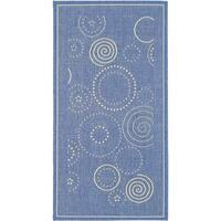 Safavieh Ocean Swirls Blue/ Natural Indoor/ Outdoor Rug - 4' x 5'7
