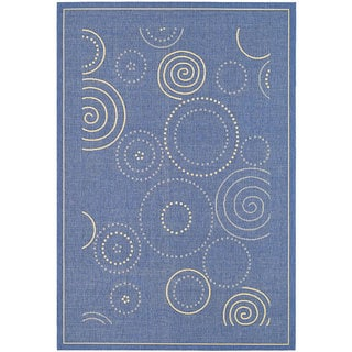Safavieh Ocean Swirls Blue/ Natural Indoor/ Outdoor Rug (6'7 x 9'6)