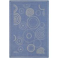 Safavieh Ocean Swirls Blue/ Natural Indoor/ Outdoor Rug - 6'7 x 9'6