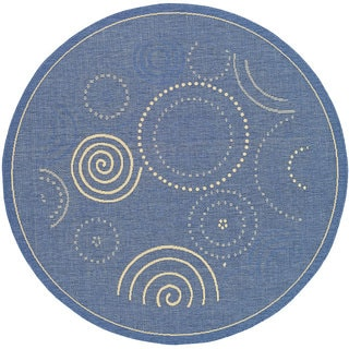 Safavieh Ocean Swirls Blue/ Natural Indoor/ Outdoor Rug (6'7 Round)