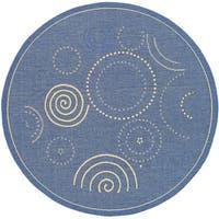 Safavieh Ocean Swirls Blue/ Natural Indoor/ Outdoor Rug (6'7 Round) - 6'7 Round