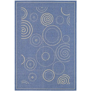 Safavieh Ocean Swirls Blue/ Natural Indoor/ Outdoor Rug (8' x 11')