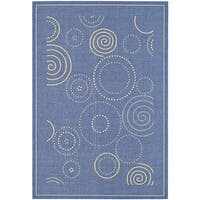 Safavieh Ocean Swirls Blue/ Natural Indoor/ Outdoor Rug - 8' x 11'