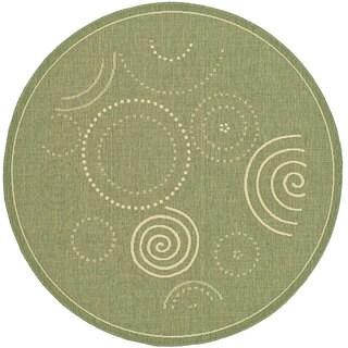 Safavieh Ocean Swirls Olive Green/ Natural Indoor/ Outdoor Rug (5'3 Round)