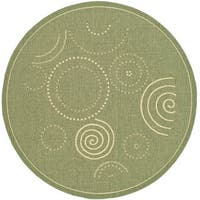 Safavieh Ocean Swirls Olive Green/ Natural Indoor/ Outdoor Rug (5'3 Round) - 5'3