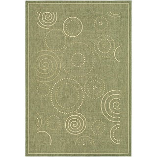 Safavieh Ocean Swirls Olive Green/ Natural Indoor/ Outdoor Rug (8' x 11')