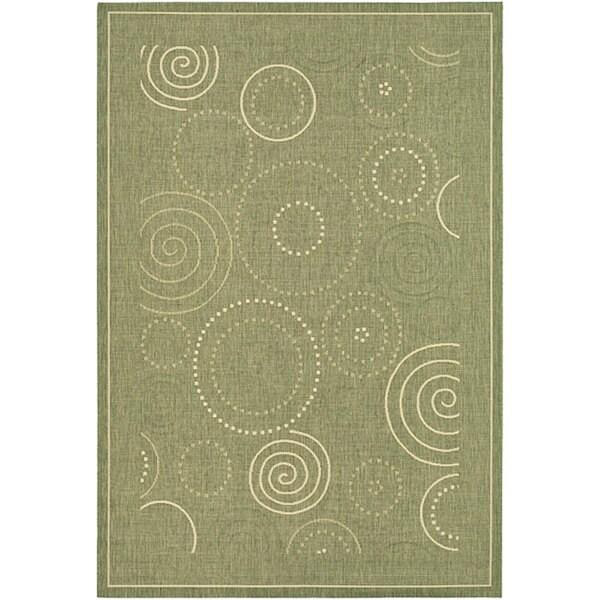 Safavieh Ocean Swirls Olive Green/ Natural Indoor/ Outdoor Rug - 8' x 11'