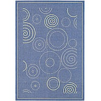 "Safavieh Ocean Swirls Blue/ Natural Indoor/ Outdoor Rug - 5'3"" x 7'7"""