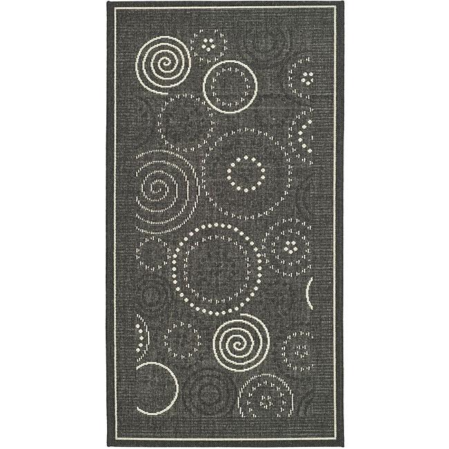 Safavieh Ocean Swirls Black/ Sand Indoor/ Outdoor Rug (2'7 x 5')