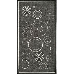 Safavieh Ocean Swirls Black/ Sand Indoor/ Outdoor Rug (2'7 x 5')