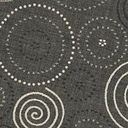 Safavieh Ocean Swirls Black/ Sand Indoor/ Outdoor Rug (5'3 Round)