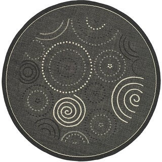 Safavieh Ocean Swirls Black/ Sand Indoor/ Outdoor Rug (6'7 Round)