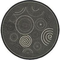 Safavieh Ocean Swirls Black/ Sand Indoor/ Outdoor Rug (6'7 Round) - 6'7 Round