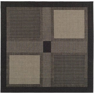 Safavieh Lakeview Black/ Sand Indoor/ Outdoor Rug (7'10 Square)