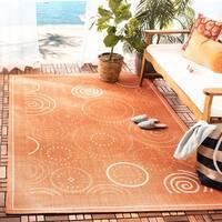 Safavieh Ocean Swirls Terracotta/ Natural Indoor/ Outdoor Rug - 5'3 x 7'7