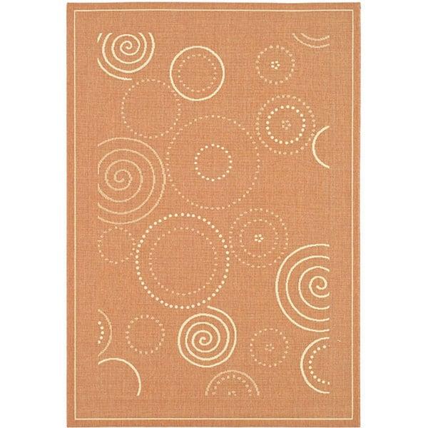 Safavieh Ocean Swirls Terracotta/ Natural Indoor/ Outdoor Rug (8' x 11')