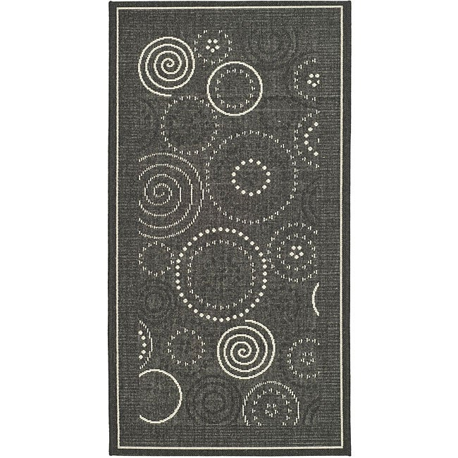 Safavieh Ocean Swirls Black/ Sand Indoor/ Outdoor Rug (4' x 5'7)
