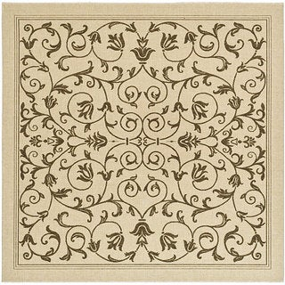 Safavieh Resorts Scrollwork Natural/ Brown Indoor/ Outdoor Rug (7'10 Square)