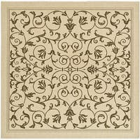 "Safavieh Resorts Scrollwork Natural/ Brown Indoor/ Outdoor Rug - 7'10"" x 7'10"" square"