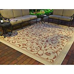 Safavieh Resorts Scrollwork Natural/ Terracotta Indoor/ Outdoor Rug (7'10 Square) - Thumbnail 1