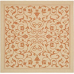 Safavieh Resorts Scrollwork Natural/ Terracotta Indoor/ Outdoor Rug (7'10 Square)