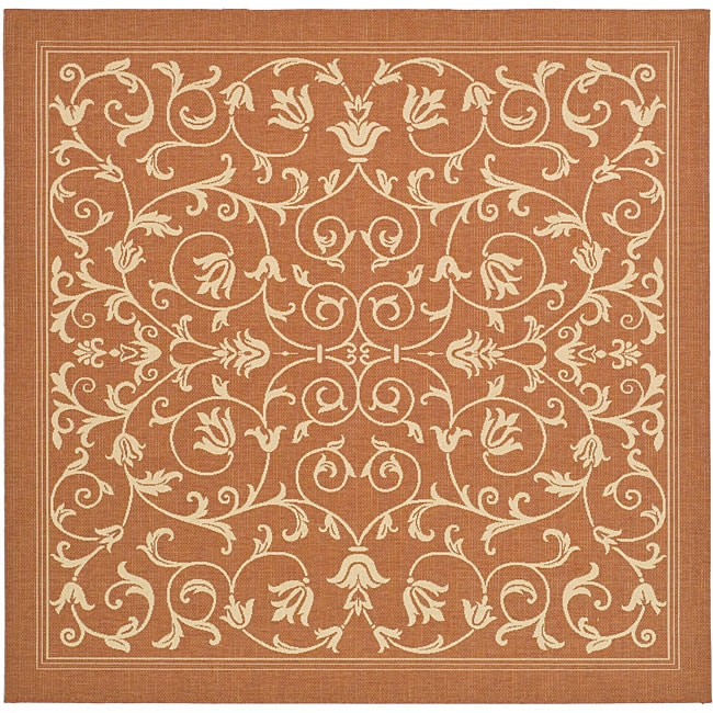 Safavieh Indoor/ Outdoor Resorts Terracotta/ Natural Rug (7'10 Square)