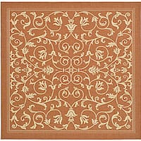 "Safavieh Resorts Scrollwork Terracotta/ Natural Indoor/ Outdoor Rug - 7'10"" x 7'10"" square"