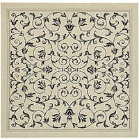 Safavieh Resorts Scrollwork Sand/ Black Indoor/ Outdoor Rug (7'10 Square)