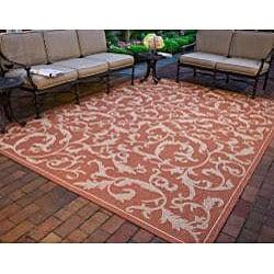 Safavieh Indoor/ Outdoor Mayaguana Terracotta/ Natural Rug (7'10 Square)