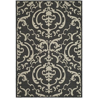 Safavieh Bimini Damask Black/ Sand Indoor/ Outdoor Rug (7'10 Square)