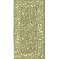 Safavieh Oasis Scrollwork Olive Green/ Natural Indoor/ Outdoor Rug (2'7 x 5')