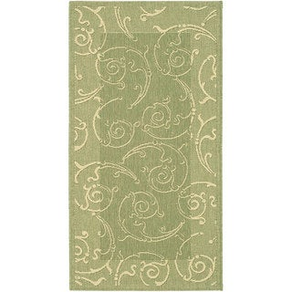 Safavieh Oasis Scrollwork Olive Green/ Natural Indoor/ Outdoor Rug (2'7 x 5')